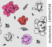 seamless pattern with peony... | Shutterstock .eps vector #1309464538