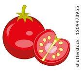 ripe vegetable tomato on white... | Shutterstock .eps vector #1309473955