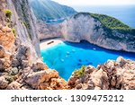 navagio beach with the famous... | Shutterstock . vector #1309475212