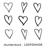 hand drawn grunge hearts on... | Shutterstock .eps vector #1309504438
