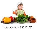 one small little girl preparing ... | Shutterstock . vector #130951976