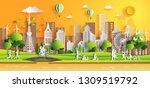 paper art style of landscape...   Shutterstock .eps vector #1309519792