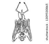 bat skeleton drawing. gothic... | Shutterstock .eps vector #1309530865