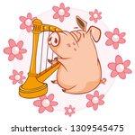vector illustration of a cute... | Shutterstock .eps vector #1309545475