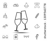 glasses with champagne icon....