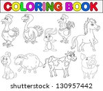 farm animal coloring book | Shutterstock . vector #130957442