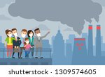 people in protective mask smoke ... | Shutterstock .eps vector #1309574605