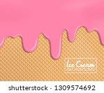melting strawberry ice cream on ... | Shutterstock .eps vector #1309574692