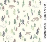 seamless pattern with trees and ...   Shutterstock .eps vector #1309579945