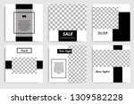 Stock vector new editable minimal square banner template black and white background color suitable for social 1309582228