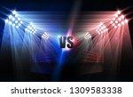 bright stadium arena lights vs... | Shutterstock .eps vector #1309583338