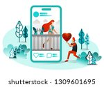 vector illustration of long... | Shutterstock .eps vector #1309601695
