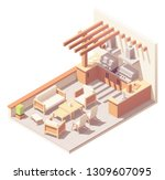 vector isometric pergola over... | Shutterstock .eps vector #1309607095