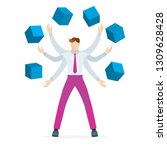 young businessman with six... | Shutterstock .eps vector #1309628428