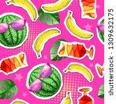 summer seamless bright pattern... | Shutterstock .eps vector #1309632175