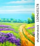 country lane oil painting on... | Shutterstock . vector #1309635178