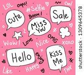 set cute hand drawn speech...   Shutterstock .eps vector #1309645378