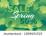 spring sale banner with leafs.... | Shutterstock .eps vector #1309651525