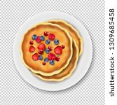 plate with pancake isolated... | Shutterstock .eps vector #1309685458