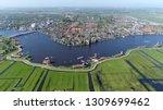aerial photo of dutch city near ... | Shutterstock . vector #1309699462