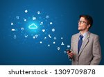 young person using phone with...   Shutterstock . vector #1309709878