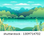 Hills Landscape In Flat Style...