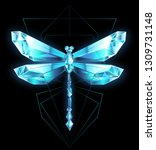 Stock vector polygonal sparkling dragonfly made of blue transparent ice on black background 1309731148