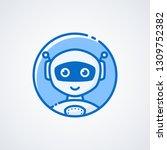 robot face line logo. cute icon ... | Shutterstock .eps vector #1309752382