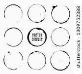 grunge ink circles. coffee... | Shutterstock .eps vector #1309752388