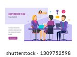 cooperation team  teamwork on... | Shutterstock .eps vector #1309752598