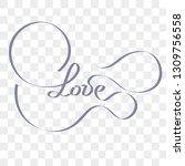 love transparent watercolor... | Shutterstock .eps vector #1309756558