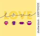 love and colorful lips saying... | Shutterstock .eps vector #1309759255