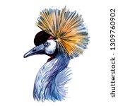crowned crane. watercolor work. | Shutterstock . vector #1309760902