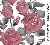 vector pattern flowers leaves... | Shutterstock .eps vector #1309775575