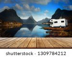 Wood display shelf on Motor Home or Campervan or Home car and Dark millford sound view in rainy weather season