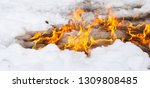 flame of fire on white snow in... | Shutterstock . vector #1309808485