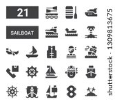 sailboat icon set. collection...   Shutterstock .eps vector #1309813675