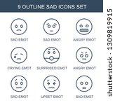sad icons. trendy 9 sad icons.... | Shutterstock .eps vector #1309819915