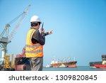 harbor master port control in... | Shutterstock . vector #1309820845