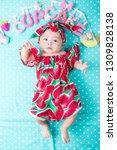 cut baby with pretty wear lying ...   Shutterstock . vector #1309828138