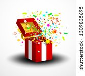 open red surprise gift box with ... | Shutterstock .eps vector #1309835695