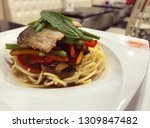image of italian spaghetti with ... | Shutterstock . vector #1309847482