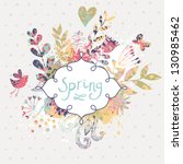 Stock vector spring floral design element birds flowers and butterflies in cute floral background in vector 130985462