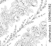 seamless pattern of rose flower ... | Shutterstock .eps vector #1309861582
