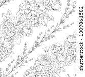 seamless pattern of rose flower ... | Shutterstock .eps vector #1309861582