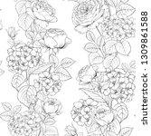 seamless pattern of rose flower ... | Shutterstock .eps vector #1309861588