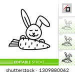 easter bunny with carrot thin... | Shutterstock .eps vector #1309880062