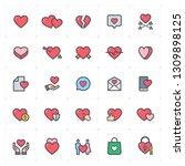icon set   heart full color... | Shutterstock .eps vector #1309898125