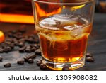 whiskey or liqueur  coffee...   Shutterstock . vector #1309908082