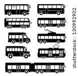 vector black bus icon set on... | Shutterstock .eps vector #130992902